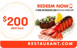 Free $200 Restaurant.com Gift Card when you sign up!
